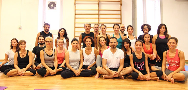 lalit with yoga retreat students in sardinia