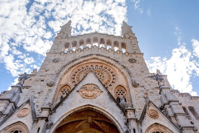 Spanish church against blue sky