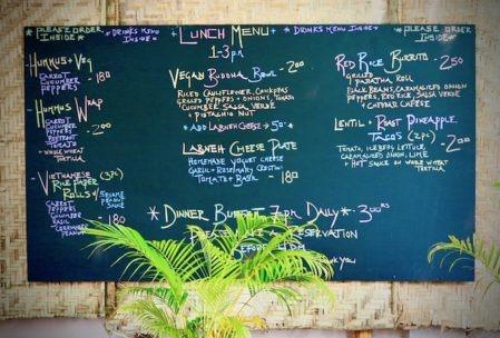 Food menu chalk board