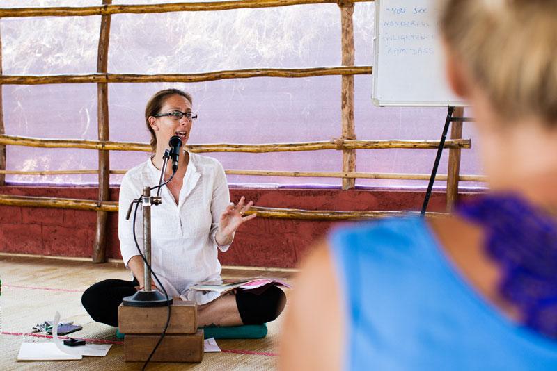 Yoga Teacher giving lecture