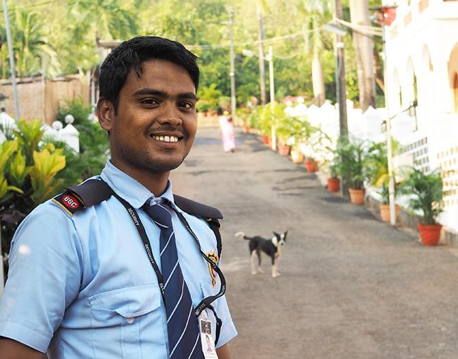 Security guard at yoga centre